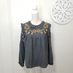 Zara size M embroidered blouse